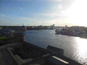 The view from the very top tower of St. John's Castle. You could see almost all of Limerick, and with the sun going down, it was gorgeous!