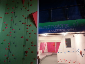 The top rope climbing section is on the left - including three autobelays- with bouldering in the back @ Activate Waterford.