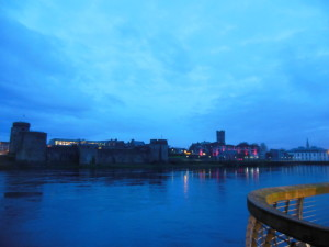 Limerick at night. King John's Castle just across the river. The city lights were amazing on the water at night!