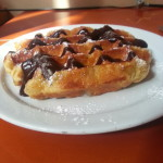Delicious Belgian waffle with chocolate in Brussels!