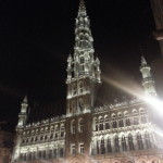 Grand Place, Brussels lit up at night.