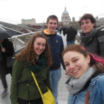 Here, we are on Millennium Bridge, and you can see St. Paul's Cathedral in the distance behind us.