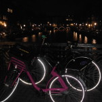 The canals were lit up very pretty at night. The bikes did not glow, though - random cool effect from my camera.