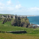 Dunluce Castle from a distance, on the Antrim Coast. It was crazy windy!