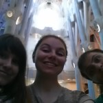 Selfies in La Sagrada Familia, Barcelona. Amazing. Looked like a forest.