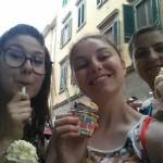 Our first gelato in Italy, in Pisa!