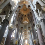 The inside of the Sagrada Familia. Gaudi designed it to be like a forest inside, and it definitely feels like a beautiful forest.