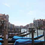 The gondolas along the Grand Canal of Venice.