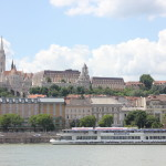 View across the Danube to the beautiful buildings of the palace and towers.