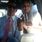 The happy couple in the limo, going to reception. Congratulations guys!