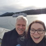 Braving the cold on the ferry for some fun with my dad!