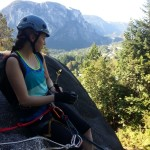 Getting ready to rappell down a wall in Squamish's Smoke Bluffs.